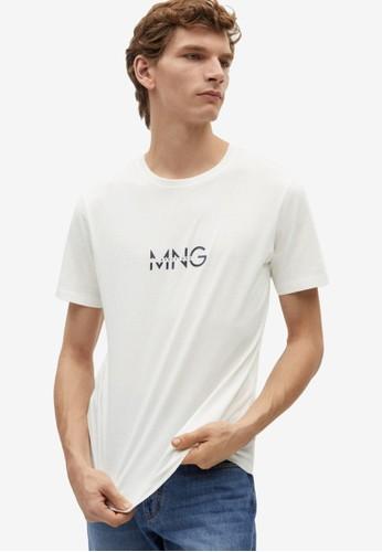 Mango Man white Logo Organic Cotton T-Shirt BD34BAAD691A58GS_1