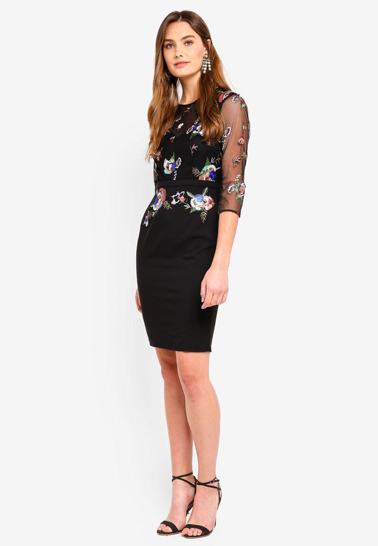 Dress Pencil Black Little Embroidered Mistress Sequin ZUn1x1