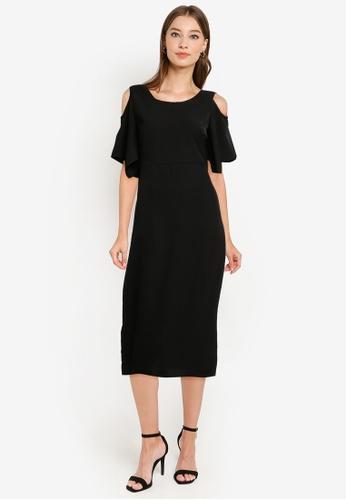 ZALORA WORK black Cold Shoulder Dress 828DCAA6092768GS_1