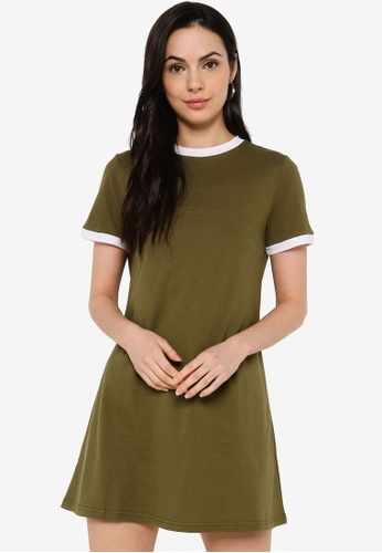 ZALORA BASICS green Contrast Collar T-Shirt Dress 2711DAAC01C88DGS_1