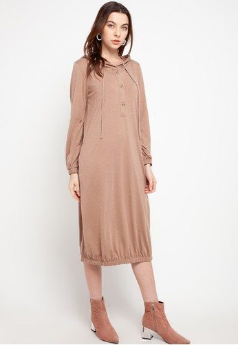 GRAPHIS brown Knit Dress With Hoodie 7944BAA5767041GS_1