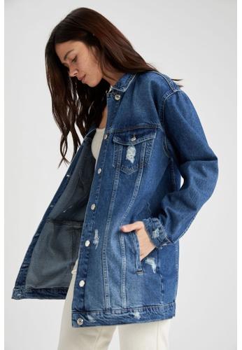 DeFacto blue Oversize Denim Jacket 15D92AAD7992F4GS_1