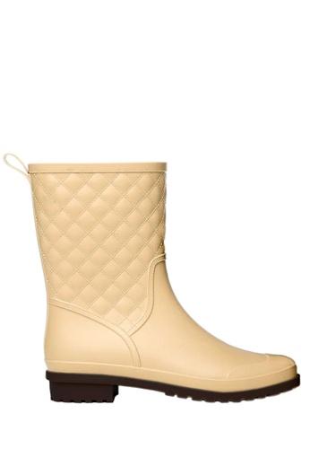 Twenty Eight Shoes 米褐色 菱格中筒雨靴  VR913 9C0E6SH91304C6GS_1