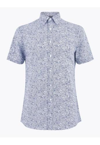 MARKS & SPENCER blue M&S Slim Fit Easy Iron Cotton Floral Shirt EDB63AA2B51CB3GS_1