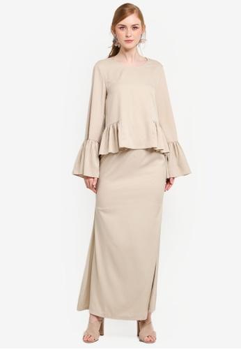 Lubna beige Frilled Peplum Top with Mermaid Skirt 5E98FAA5AC8B7CGS_1