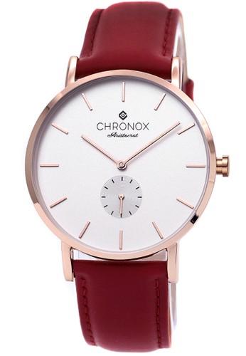 Chronox CX1003/B4 - Jam Tangan Pria - Tali Kulit Merah - Putih Rosegold