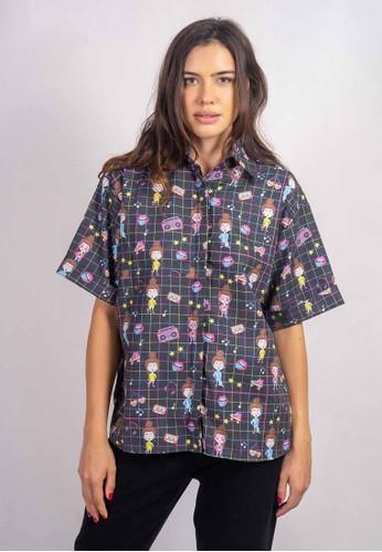 Orlin ORLIN Talia Square Black Short Sleeve Shirt 6D041AABB729ECGS_1