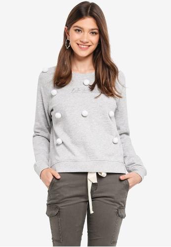 ONLY grey Pom-pom Lotus Sweatshirt 9E0CDAAF1AF942GS_1