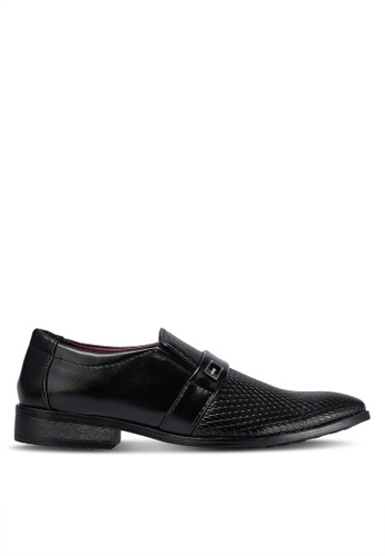 Albertini black Textured Slip On Dress Shoes AL779SH0RJT1MY_1