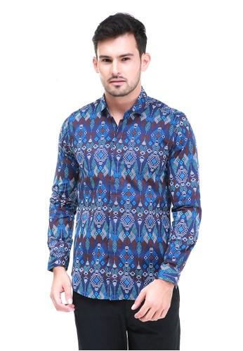 Hamlin blue Dwan Kemeja Batik Pria Modern Atasan Formal Longsleeve Shirt Material Cotton ORIGINAL - Navy BDE88AA4092149GS_1