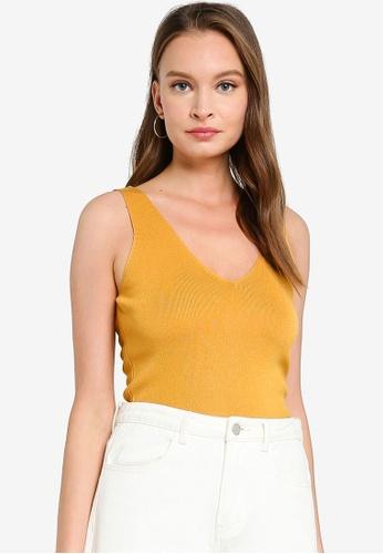 FORCAST yellow Myra V-Neck Ribbed Knit Top 593E7AA57F01A9GS_1