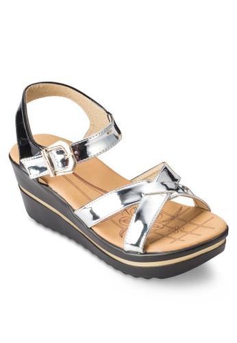 COVesprit 鞋ET 亮面交叉楔形涼鞋, 女鞋, 鞋