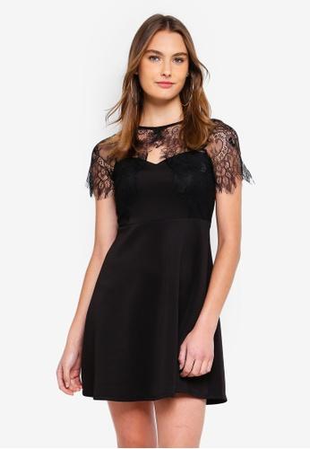 Dorothy Perkins black Petite Black Fit And Flare Dress E99C5AAC97F24FGS_1