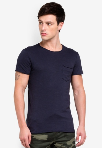OVS 海軍藍色 毛邊口袋T恤 8B450AA4A64BCEGS_1