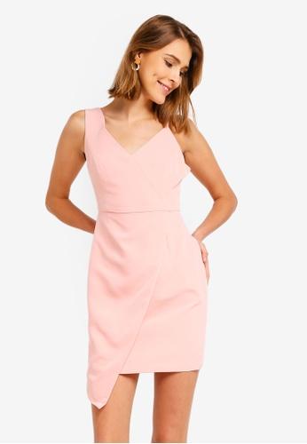 ZALORA 粉紅色 不規則洋裝 26140AAB9D3124GS_1
