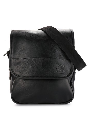 Urban State black Distressed Leather Courier Crossbody Bag 739E7ACEE6D4E4GS_1