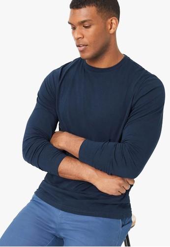 MARKS & SPENCER navy Cotton Crew Neck Long Sleeve T-Shirt D4690AAB93A7E1GS_1