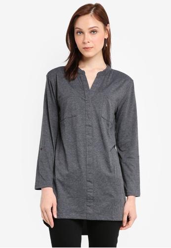 Zariya grey Longline Shirt A45CFAA3B6409AGS_1
