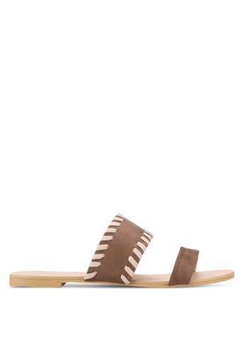 ZALORA brown Whip Stitch Sliders 822A9SHFD2B53EGS_1