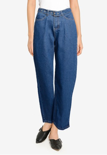 ZALORA BASICS blue Wide Leg Jeans With Belt E24AAAA7FAE78CGS_1