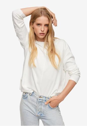 Mango white Long Sleeve Cotton T-Shirt CA96FAA156F6EEGS_1