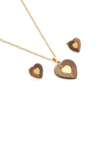 Glamorousky silver Fashion and Simple Plated Gold Wood Grain Heart-shaped 316L Stainless Steel Necklace and Stud Earrings Set 76BADAC9F3B103GS_1