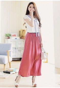 [IMPORTED] Waves Maxi Skirt - Pink