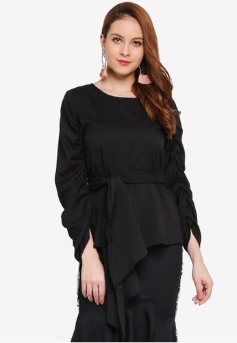 Lubna black Gathered Sleeve Front Tied Top 0CA88AAFDB82A6GS_1