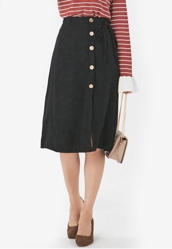 YOCO black Buttoned Down Midi Skirt 1FB3EAA4F51E51GS_1