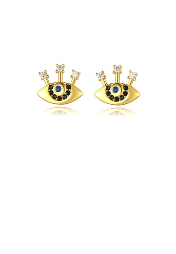 Glamorousky white 925 Sterling Silver Plated Gold Simple Fashion Devil's Eye Stud Earrings with Cubic Zirconia 0C208AC64CC105GS_1