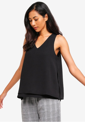ZALORA BASICS black Basic Double Layer Top C5A13AAC71F325GS_1