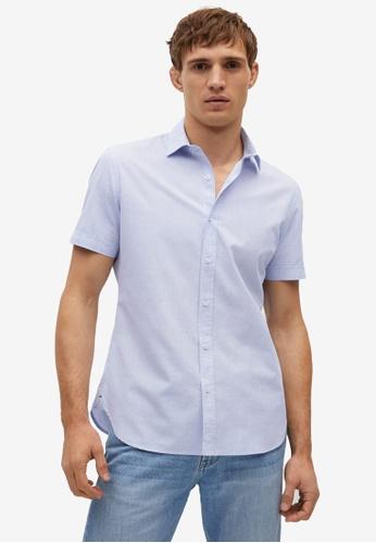 Mango Man blue Slim-Fit Short-Sleeve Shirt BA834AAE830E0EGS_1