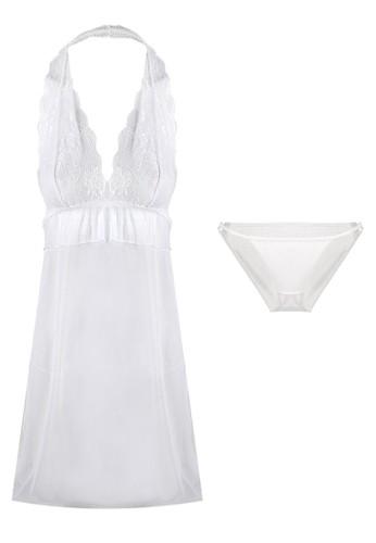 LAVABRA Intimates white Sweet Lingerie - Italian Lace Halter Neck Baby Doll Lingerie Set LA387US47CMQID_1