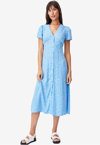 Cotton On blue Woven Indi Short Sleeve V-Neck Button Through Midi Dress 9B603AAC9DE226GS_1