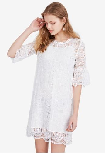 Hopeshow white Lace Shift Mini Dress 8D1DDAAD4465ECGS_1