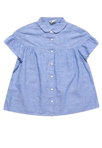 Giordano blue Girls Linen Shirt A43D8KA8785D08GS_1