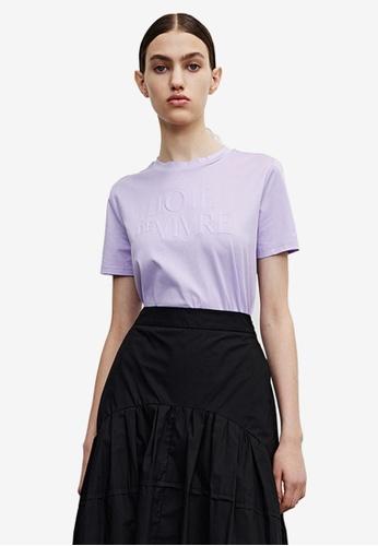 Urban Revivo purple Embossed T-shirt F32C6AA74BA60BGS_1