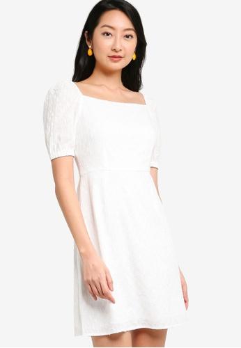 ZALORA BASICS white Square Neck Eyelet Fit & Flare Dress 5C7ACAAD37ED93GS_1