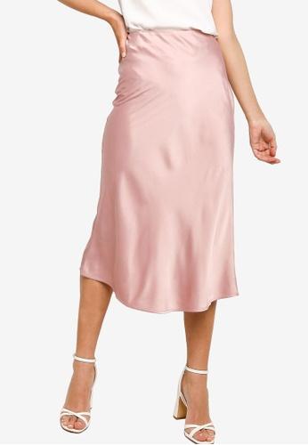 ZALORA OCCASION pink Satin Bias Cut Midi Skirt 34F58AA7D5AF86GS_1