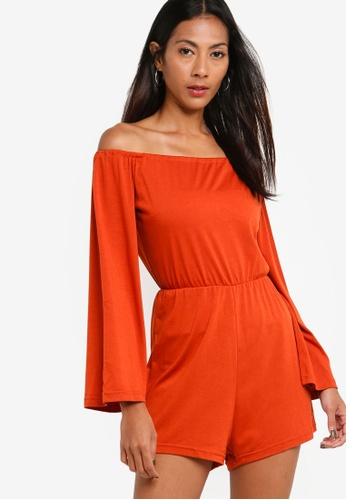 ZALORA BASICS orange Basic Flared Sleeves Playsuit 8C850AA1EF2FA4GS_1