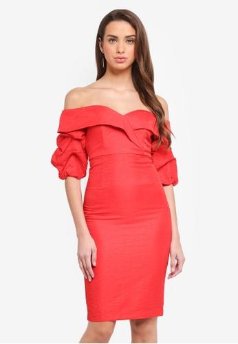 Bardot red Devlin Twist Dress BA332AA0STAFMY_1