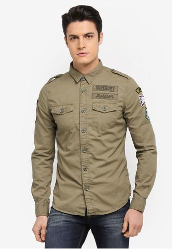 Superdry green Army Corps Lite Long Sleeve Shirt B1D36AAAB751B1GS_1