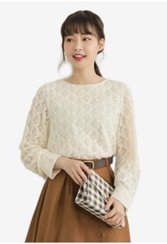 6f308570 Eyescream beige Sheer Petal Lace Long Sleeve Top 2CF17AA9608643GS_1