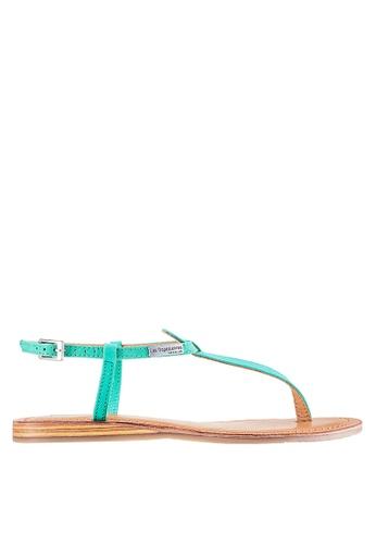 Les Tropeziennes Par M. Belarbi blue Narbuck Turquoise T-Strap Leather Sandals 8F134SH02D003DGS_1