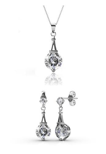 Her Jewellery silver Swarovski® Crystals - Paris Set (White Gold) (18K White Gold Plated) Her Jewellery HE581AC0RB16MY_1