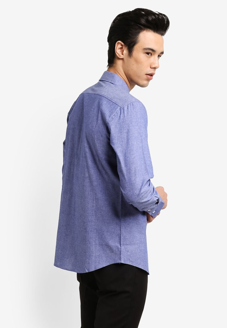 Shirt ZALORA 2 Fit Black Chambray Sleeve Long Pack Blue Slim qZqU0Yf