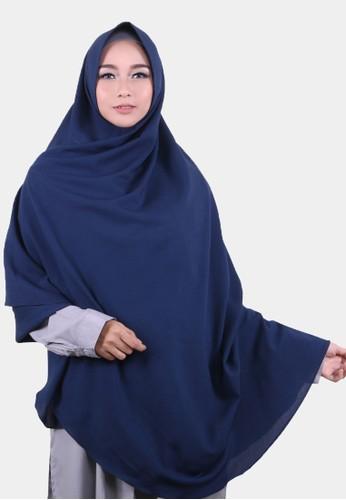 COTTON BEE blue Khimar Celine Pet Hijab Syari Jilbab Jumbo Kerudung Muslim - Galaxy Blue 07101AA8498106GS_1