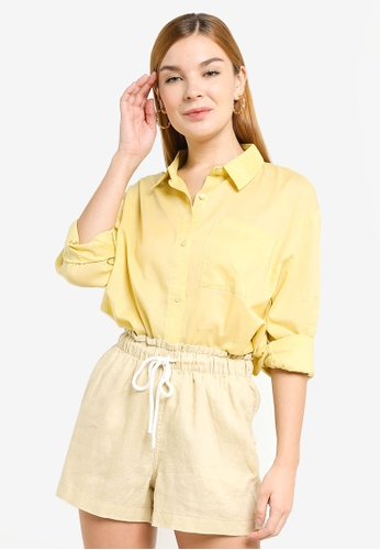 H&M yellow Oversized Cotton Shirt 6EFC4AAA79591EGS_1