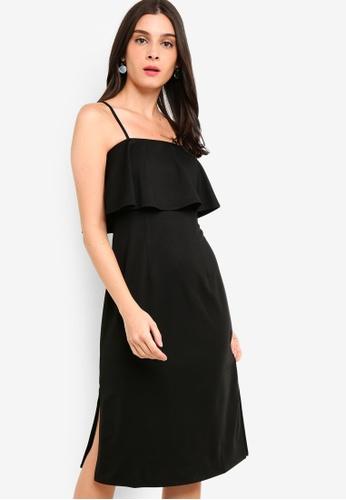 ZALORA black Tiered Strappy Midi Sheath Dress E18AFAAFD7BC68GS_1