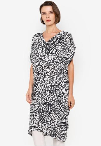H&M black and multi Patterned Kaftan Tunic DAF93AAF810D96GS_1